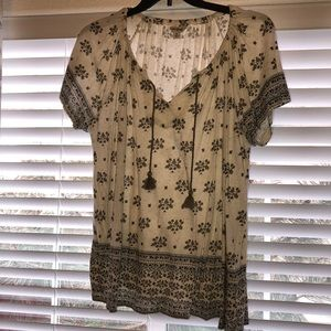 Lucky Brand Printed Peasant Top 2X